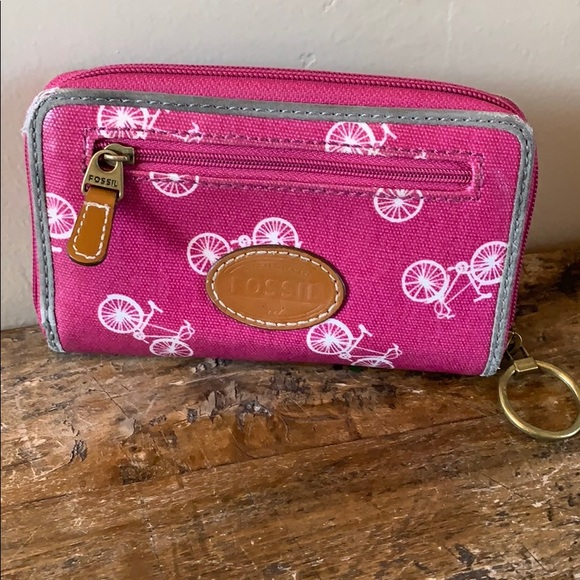 "Fossil Handbags - Fossil Pink Bicycle Wristlet 6"" x 4"""